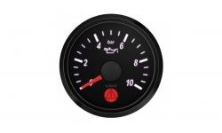 Manomètre Pression Huile VDO SingleViu Diamètre 52mm Fond Noir 0-10Bars - 1