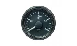 Manomètre Pression Turbo VDO SingleViu™ 0-2Bars Diamètre 52 Fond Noir - 1
