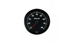 Compte-tours VDO 8000 Trs/Min Diamètre 100 Fond Noir 4 / 6 / 8 Cylindres Diesel / Essence - 1
